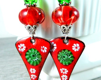 Christmas Earrings, Red Green White Floral Enamel & Glass Long Dangle Earrings, Boho Chic Statement Earrings, Boro Lampwork Earrings Artisan