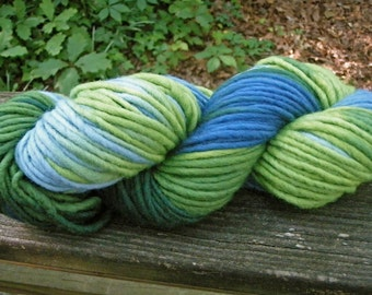 Summer at the Lake--Green and Blue Variegated--Single Ply Bulky Wool Yarn--4 Ounce Skein--100 Yards--Plant Dyed