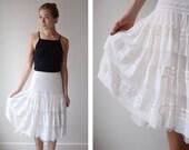 As Is White Ruffled White Petticoat Half Slip - M
