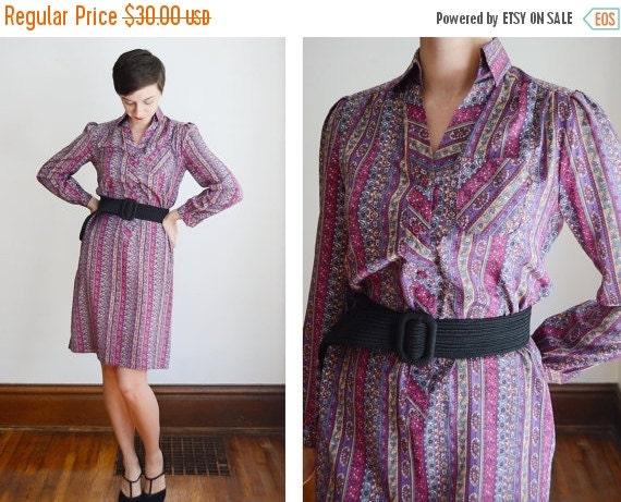 SUMMER SALE Purple Paisley Shirt Dress - S
