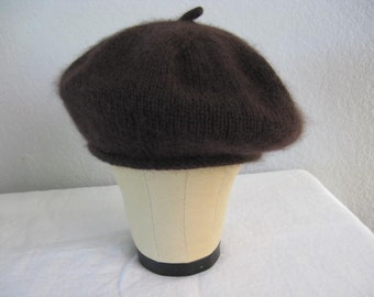 Dark Brown Beret. Extra Fine Merino Wool and Angora. Hand Knit French Beret. Fall and Winter Accessories.