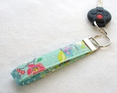 Gigi Blooms Wristlet Key Fob  Fabric Key Fob Keyring Adorn It Bird Tweets Floral Aqua Mint Blue Orchid