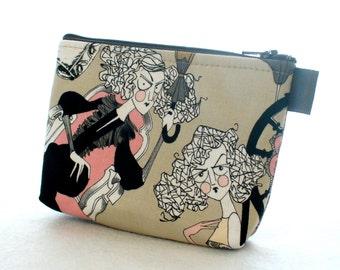 The Ghastlies Halloween Fabric Cosmetic Bag Makeup Bag Zipper Pouch Alexander Henry Darla Ghastlie Magda Grislie Pink Gray GET