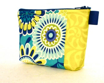 Colorful Suzani Floral Fabric Gadget Pouch Small Cosmetic Bag Fabric Zipper Pouch Makeup Bag Navy Blue Turquoise Chartreuse