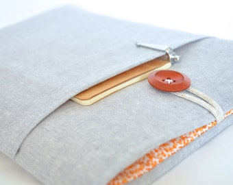 "Laptop Sleeve Chromebook Case Custom Size 11.6"", 13.3"", 14"", 15.6"", Surface Pro Cover - Gray Linen + Orange Floral"