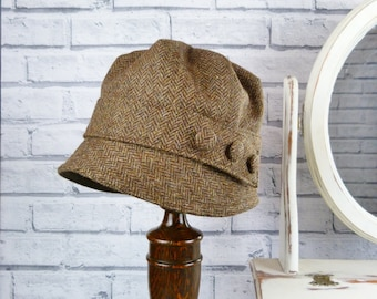 Womens Cloche Hat - Brown Yorkshire Herringbone Tweed, Womens Hat