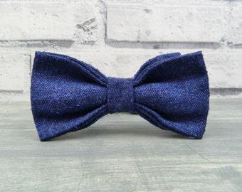 Linen/Wool/Silk Bow Tie - Navy Blue