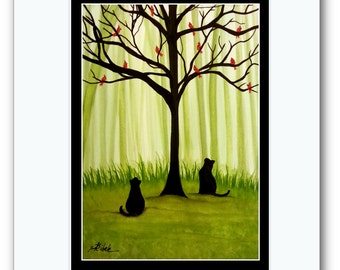 Black Cats in Summer - The Red Cardinal Tree - ArT Prints by Bihrle -bc4s53