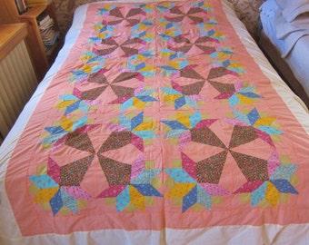 Cotton quilt top, Nose Gay quilt top, OOAK patchwork quilt topper. homemade quilt top,