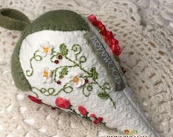 Strawberry Rose Sachet, Ribbon Embroidered, Hand Embroidered, Pincushion, Stitchery