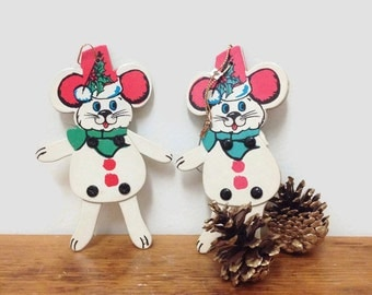 Vintage Christmas Mouse Ornament with Moveable Arms & Legs - Set of Two - Made in Japan