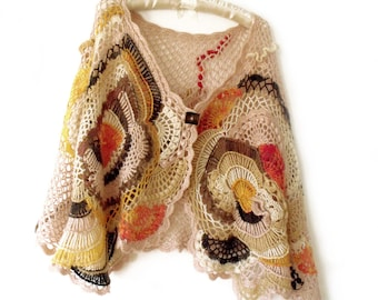Cape poncho, Crochet cape, Freeform crochet, Boho cape, Boho poncho, Hippy gypsy poncho, Crochet stole, Fall poncho, Off shoulder cape