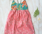 Girl's Dress - Strappy Girl Dress - Tigerlily Tropical print - Baby, Toddler, Youth Dress - made in Maui, Hawaii USA