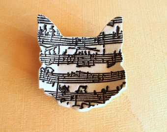 Ceramic Cat Sheet Music Dish - Handmade Porcelain B&W Sheet Music CAT Ring Dish / Tea Bag Holder - Wedding Ring Dish - Ready To Ship