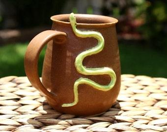 Ceramic SNAKE Coffee Mug - Handmade Green Snake Stoneware Mug - Reptile Mug - Ready To Ship