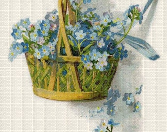 Instant Digital Download Scan Vintage Blue Forget Me Nots in Basket Flowers ECS