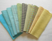 Turquoise - Yellow - Green - Pastel Hand Dyed Felted Wool Fabric in a Beautiful Collection of Colors a Perfect Rug Hooking Wool