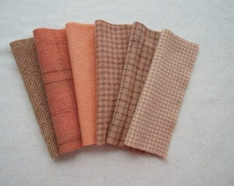 Salmon - Peach - Mango Hand Dyed Felted Wool in a Beautiful Collection Perfect Rug Hooking and Applique Wool