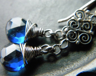 Long sterling silver filigree and sapphire blue quartz faceted briolette earrings - upcycled jewelry