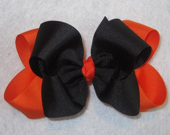 Orange Black Fall Halloween Hair Bow Fabulous Double Layered Boutique Lush with Spikey Edges for Baby Toddler or Little Girl