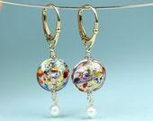 Venetian Murano Klimt inspired gold foil drop lever back earrings, handmade colorful lampwork glass earrings with pearl drop, art4ear