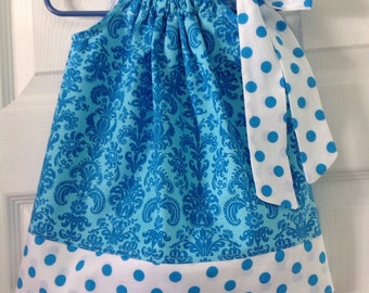 READY TO SHIP Blue Damask Pillowcase Dress Size 6 months
