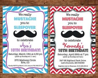 Girl Mustache Sleepover Chevron Zebra Slumber Party Birthday Invitation - DIGITAL FILE