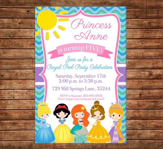 Girl Princess Princesses Swimming Swim Pool Party Royal Celebration Birthday Invitation - DIGITAL FILE