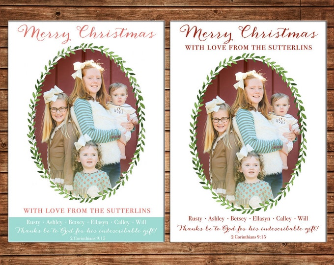 Photo Picture Christmas Holiday Card Wreath Garland Laurel Elegant Preppy Traditional - Digital File