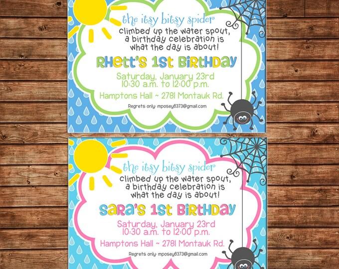 Boy or Girl Spider Rain Sun Cloud Invitation Birthday Party Invitation - DIGITAL FILE