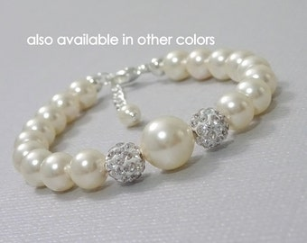 Flower Girl Bracelet,  Swarovski Ivory Pearl Bracelet, Flower Girl Gift, Flower Girl Jewelry, Flower Girl Bracelet, Bridal Party Jewelry