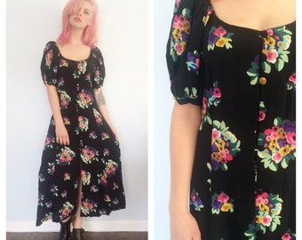 Vintage Betsey Johnson Floral Button Up Maxi Dress