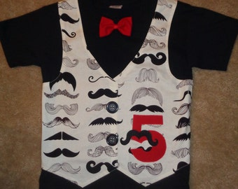 Mustache Birthday Vest and Bow Tie shirt In Black