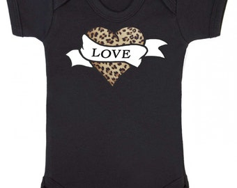 Leopard Print Tattoo Love Heart Baby Vest
