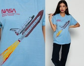 NASA Shirt Spaceship Outer Space T Shirt Vintage Galaxy Tshirt Science 80s Graphic Tee Astronaut Galaxy Burnout Baby Blue Medium