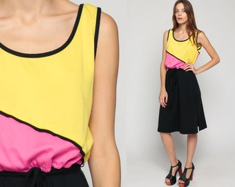70s Midi Dress COLOR BLOCK Retro 80s Slouchy High Waist Stripe Belted Bohemian Vintage Sleeveless Summer Black Pink Boho Extra Large xl