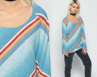 Tunic Top Cotton Blouse 70s Boho Striped Shirt Blue 80s Hippie Raglan Long Sleeve Rainbow Bohemian Vintage Hipster Red Yellow Medium Large