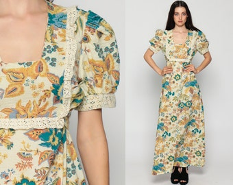 70s Maxi Dress Boho Floral Print PUFF Sleeve Lace Bib 1970s Hippie Bohemian Empire Waist PEASANT Festival Vintage Cream Blue Large