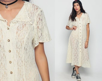 Cream Lace Dress 80s Bohemian Grunge SHEER Flutter Sleeve Party 1980s Boho Midi Vintage Pearl Button Up Festival Collar Extra Large Xl