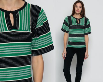 Striped Shirt METALLIC Top 70s Hippie Boho Tshirt Mod Top KEYHOLE Bohemian Tee Vintage 1970s Print T Shirt Black Green Silver Small