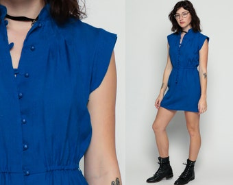 Royal Blue Dress 70s Mini Elastic High Waisted Cap Sleeve 80s Plain Boho Hipster 1970s Vintage Bohemian Preppy Button Up Summer Medium