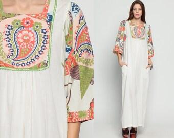Paisley Maxi Dress 70s Hippie Cotton Psychedelic Floral Print 60s Boho Caftan Tent Tunic Bib Festival Vintage Bohemian White Small Medium