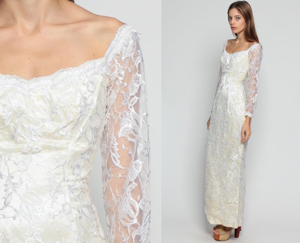 Vintage Wedding Dress White Lace Maxi 80s Bohemian Grunge xs