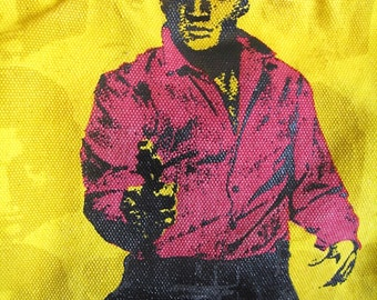 Andy Warhol Bag Elvis Loop NYC Bag Adjustable Long Strap Gun Coin Purse on Chain Warhol Foundation Vtg Yellow CanvasUsed Fairly Clean