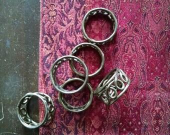 Vintage Brass Napkin Rings Table Setting Set Bohemian Industrial Decor