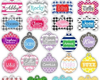 Personalized Pet Tag Personalized Dog Tag Custom Dog Tag Custom Pet Tag Stripes or Design Your Own Pet Tag Pet Gift Chevron Dog Tag