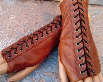Tan Brown Leather Steampunk Short Fingerless Gloves with Antiqued Brass Eyelets and Black Lacing