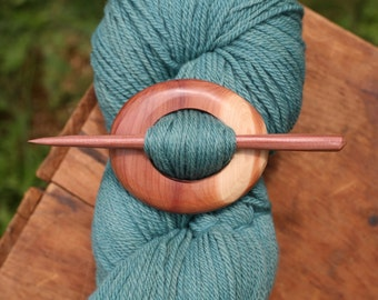 Red Cedar Shawl Pin - Handmade Wooden Shawl Pin in Red Cedar Wood - Eco Knitting Supplies