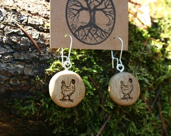 Wooden Chicken Earrings- Sustainable Wood Jewelry- Oregon Myrtlewood Tree Earrings- Natural Wood Jewelry- Eco Earrings