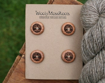 4 Wood Tree Buttons- Oregon Madrone Wood- Wooden Buttons- Eco Craft Supplies, Eco Knitting Supplies, Eco Sewing Supplies